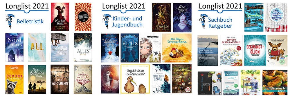 Longlist Selfpublishing Buchpreis 2021 gesamt 30 Titel
